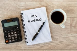 Tax Planning text on Note pad